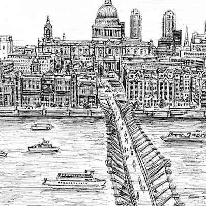 Millennium Bridge - Drawings - Originals, prints and limited editions