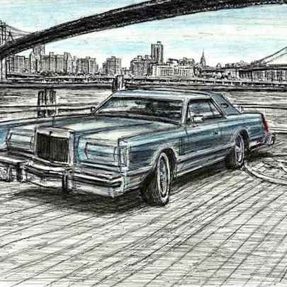 1977 Lincoln Continental at Brooklyn Heights - Original drawings