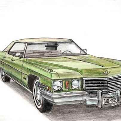 1972 Cadillac Sen De Ville - Drawings - Originals, prints and limited editions