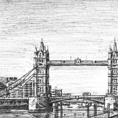 The Shard & Tower Bridge (London) - Drawings - Originals for sale