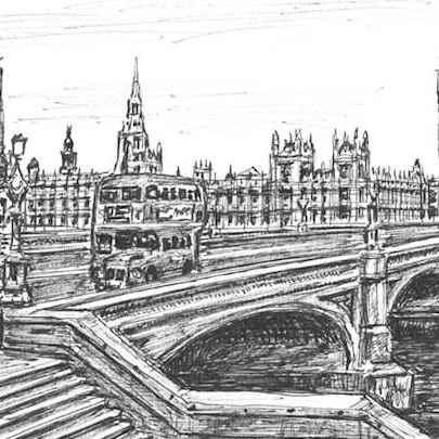 Houses of Parliament from Westminster Bridge (London) - Drawings - Originals, prints and limited editions