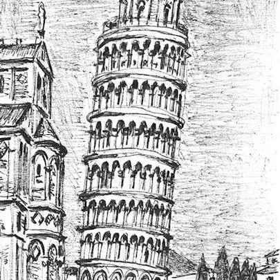 Leaning Tower of Pisa (Italy) (A4 print)1 - Prints for sale