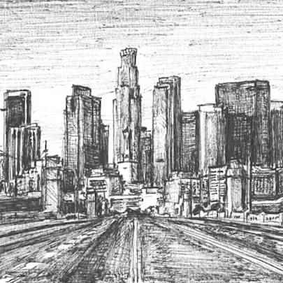 Downtown Los Angeles skyline, USA - Drawings - Originals for sale
