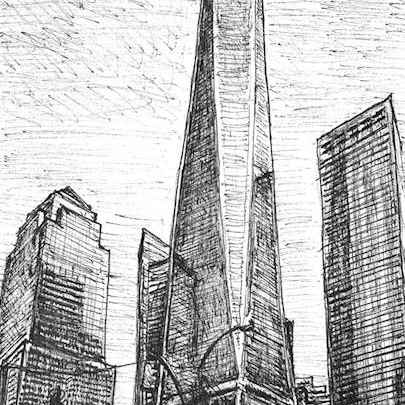 Freedom Tower, New York City - Drawings - Originals, prints and limited editions