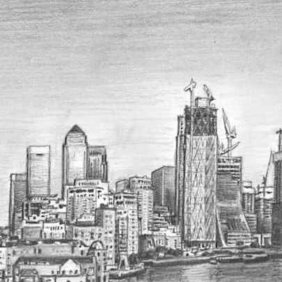 View of Canary Wharf skyline, London - Drawings - Originals, prints and limited editions