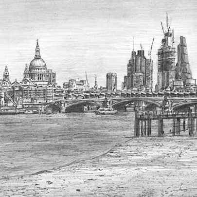 St Pauls Cathedral and the City of London skyline - Drawings - Originals for sale