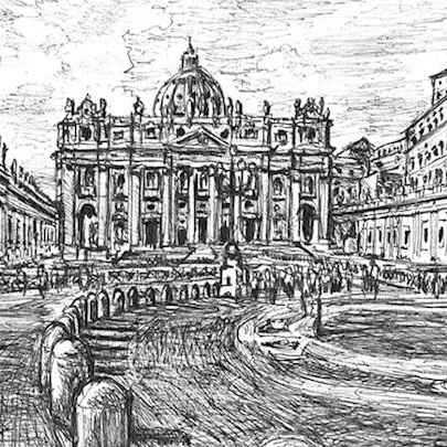 Vatican City - Drawings - Originals for sale