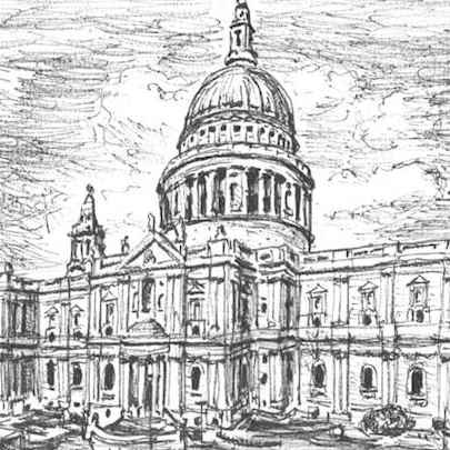 St Pauls Cathedral, London - Drawings - Originals for sale