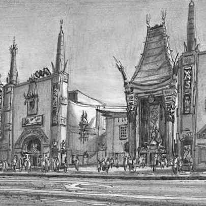 Chinese Theatre, Los Angeles, California - Drawings - Originals for sale