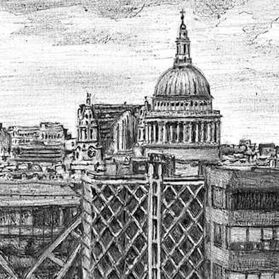 View of St Pauls Cathedral from the Monument - Stephen Wiltshire drawings, originals, prints and limited editions - Originals for sale
