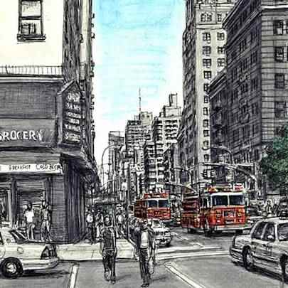 The Artwork New York street scene with Fire Engines