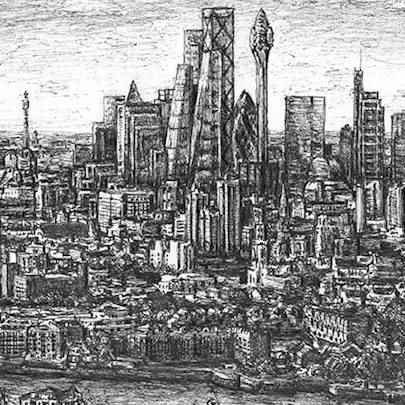 Tulip Tower, City of London - Drawings - Originals, prints and limited editions