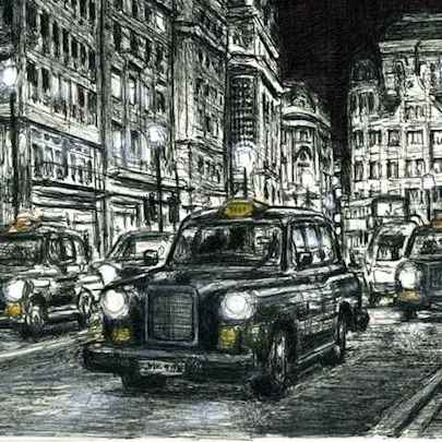 London Taxi Cab at Haymarket at night - Original drawings and Architectural Art