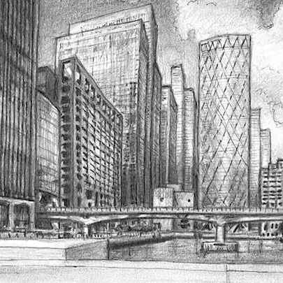 Heron Quays skyline at Canary Wharf - Drawings - Originals, prints and limited editions