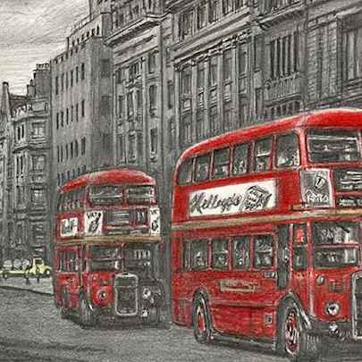 London RTW buses at Fleet street - Stephen Wiltshire drawings, originals, prints and limited editions - Originals for sale