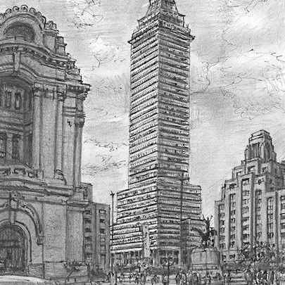 Drawing of Torre Latinoamericana, Mexico City