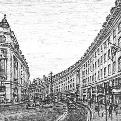 Regent Street, London - Drawings - Originals for sale
