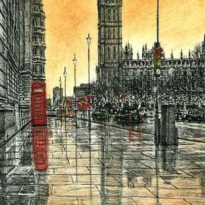 Big Ben on a rainy evening - Limited Edition of 100 - Drawings - Prints for sale