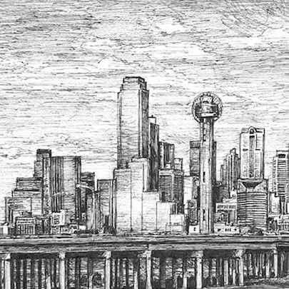 Dallas Skyline USA - Drawings - Originals for sale