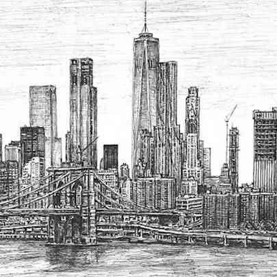 Brooklyn Bridge and One World Trade Center - Stephen Wiltshire drawings, originals, prints and limited editions - Originals for sale