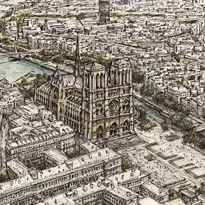 Notre Dame, Paris - Drawings - Originals, prints and limited editions