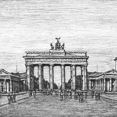 Brandenburg Gate, Berlin - Drawings - Originals, prints and limited editions