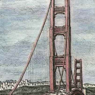 Golden Gate Bridge, San Francisco - Stephen Wiltshire drawings, originals, prints and limited editions - Originals for sale