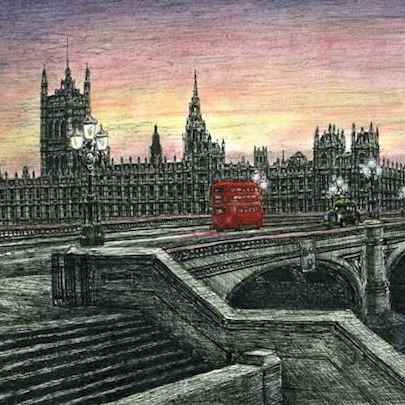 Houses of Parliament in the evening - Limited Edition of 100 - Drawings - Prints for sale