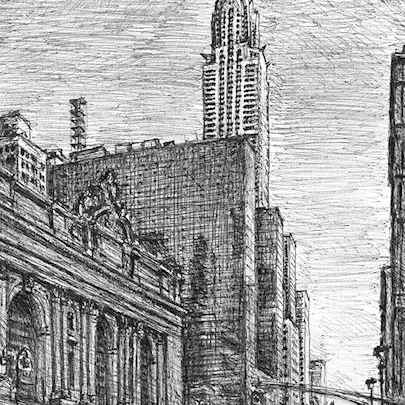 Chrysler Building from 42nd street, New York - Drawings - Originals, prints and limited editions