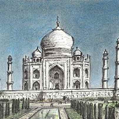 Taj Mahal - Stephen Wiltshire drawings, originals, prints and limited editions - Originals for sale
