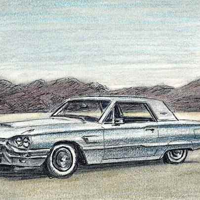 Drawing of 1965 Ford Thunderbird hard top