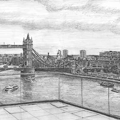 View of Tower Bridge from Landmark Place - Stephen Wiltshire drawings, originals, prints and limited editions - Originals for sale