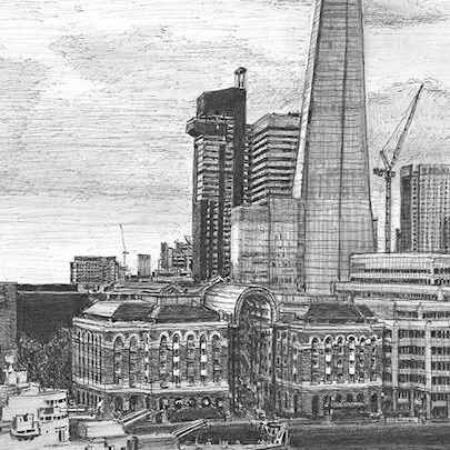 View of the Shard from Landmark Place - Drawings - Originals, prints and limited editions