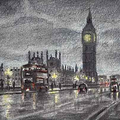 Drawing of Big Ben, red bus and Houses of Parliament, London