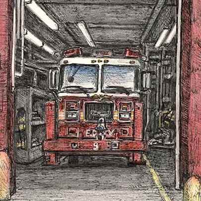 Fire truck at River Street, Lower Manhattan, New York - Stephen Wiltshire drawings, originals, prints and limited editions - Originals for sale