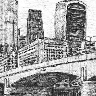 22 Bishopsgate and Walkie Talkie at London Bridge - Stephen Wiltshire drawings, originals, prints and limited editions - Originals for sale