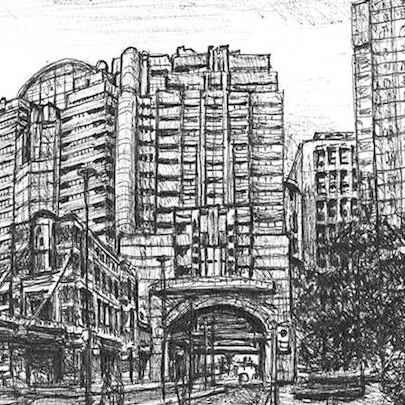 Alban Gate, London Wall - Stephen Wiltshire drawings, originals, prints and limited editions - Originals for sale