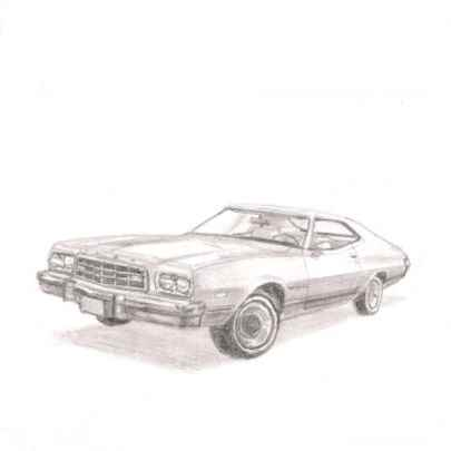 1973 Ford Gran Torino Sports Coupe - Drawings - Originals, prints and limited editions