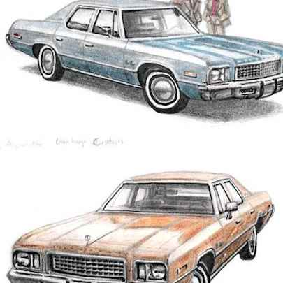 1976 Plymouth Gran Fury - Original drawings and Architectural Art