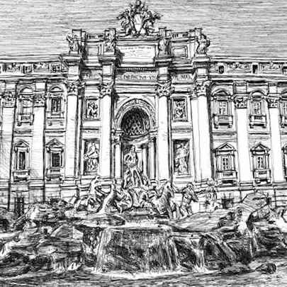 Trevi Fountain, Rome - Original drawings