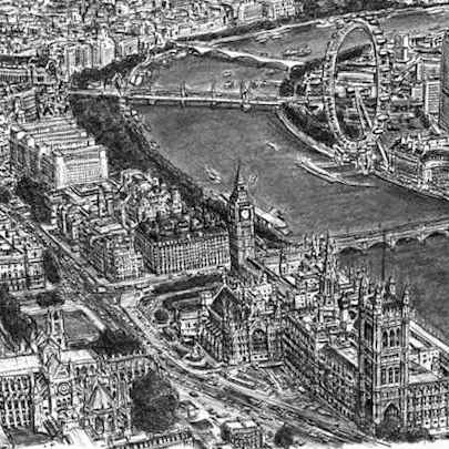 Aerial view of Houses of Parliament and Westminster Abbey - Original drawings