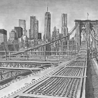 Brooklyn Bridge New York City (Limited Edition of 50) - Drawings