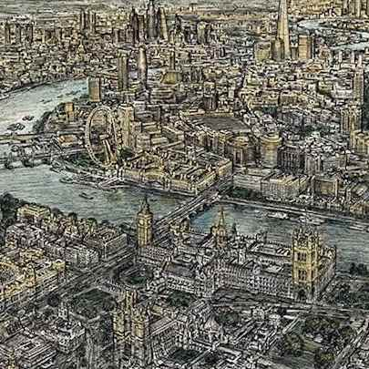 Aerial view of London (Limited Edition of 50) - Drawings