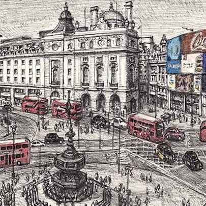 Drawing of Piccadilly Circus, London