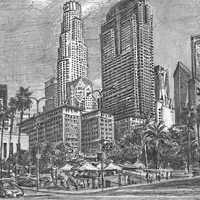 Pershing square, Downtown Los Angeles - Stephen Wiltshire drawings, originals, prints and limited editions - Originals for sale