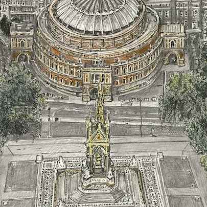 Aerial view of Royal Albert Hall - Original Drawings