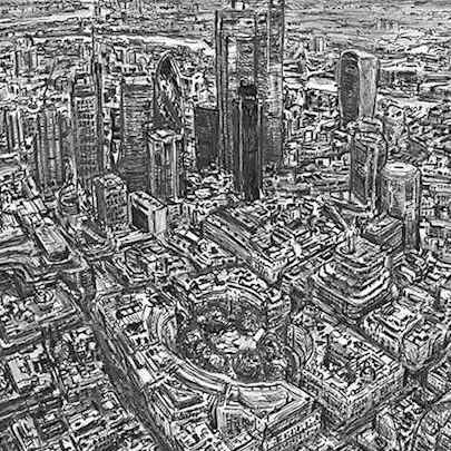 Drawing of Aerial view of City of London