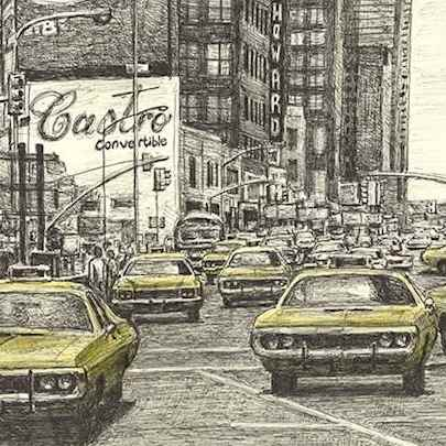 NYC yellow cabs at Time Square - Original Drawings