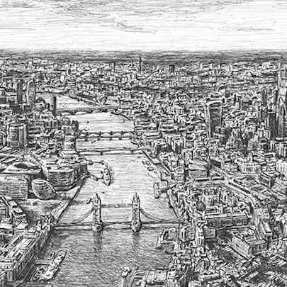 Drawing of Aerial view of Tower Bridge and River Thames, London