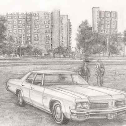1973 Oldmobile Delta 88 Royale - Drawings - Originals, prints and limited editions
